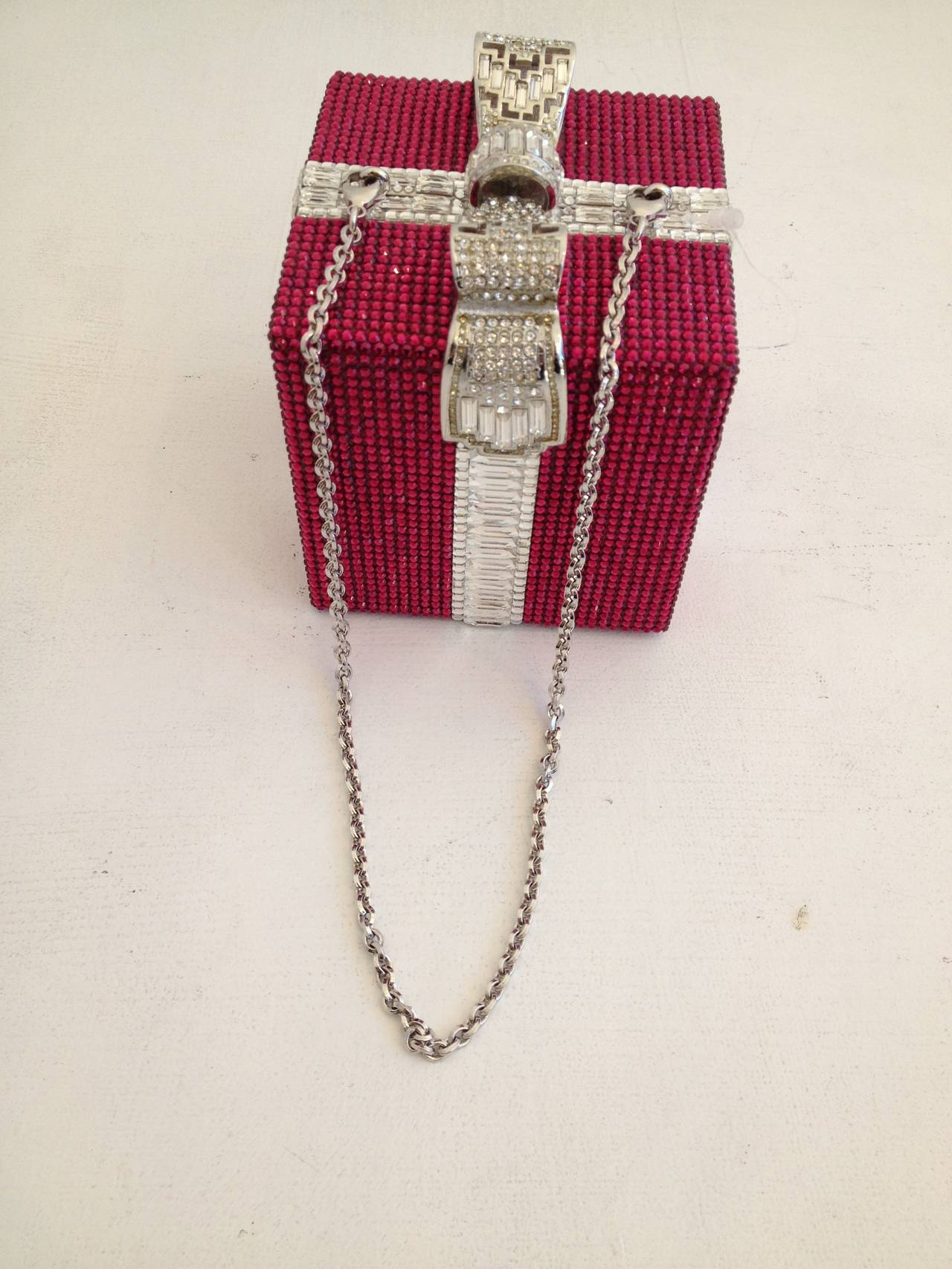 Women's Judith Leiber Pink and Clear Rhinestone Present Clutch For Sale