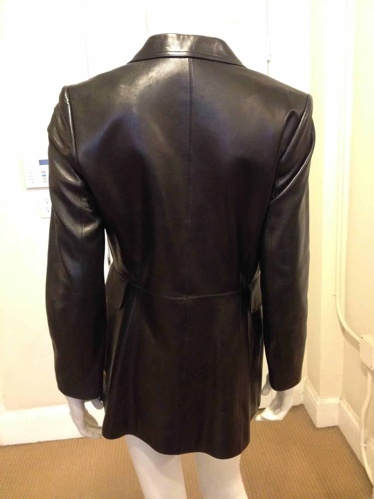 Alaia Black Leather Blazer 4