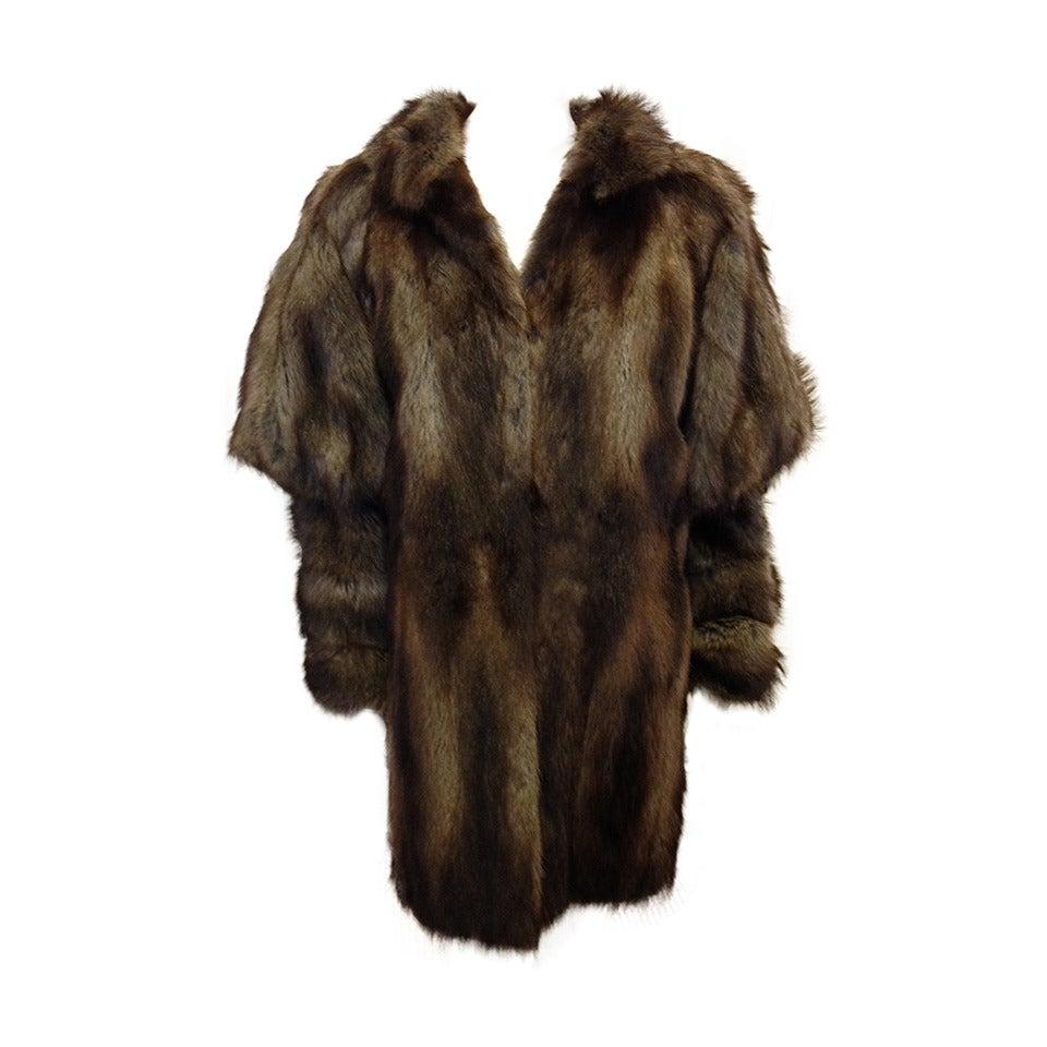 Fendi Brown Muskrat Fur Coat 1