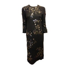 Lanvin Charcoal Grey Dress with Beading