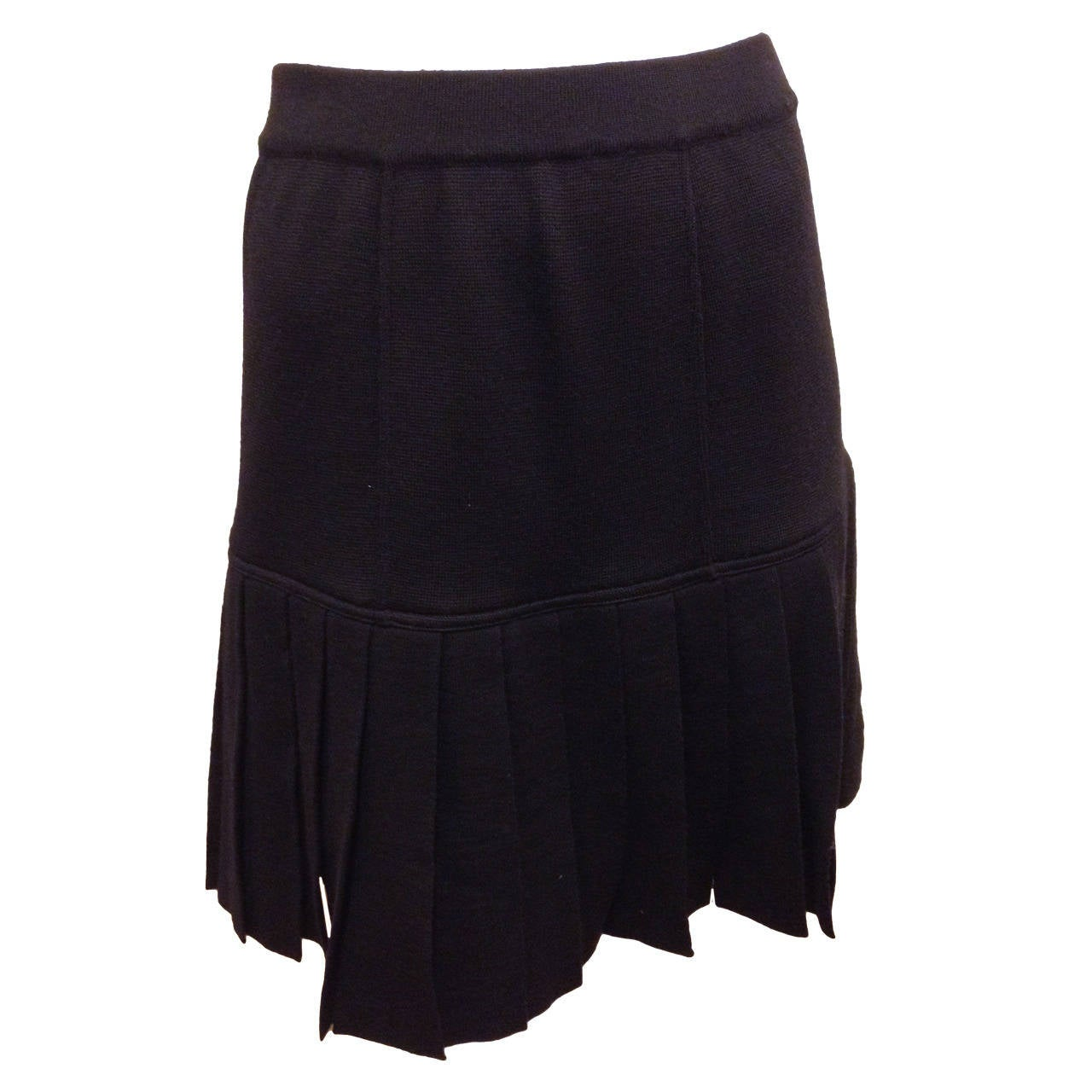 chanel black knit pleated skirt at 1stdibs