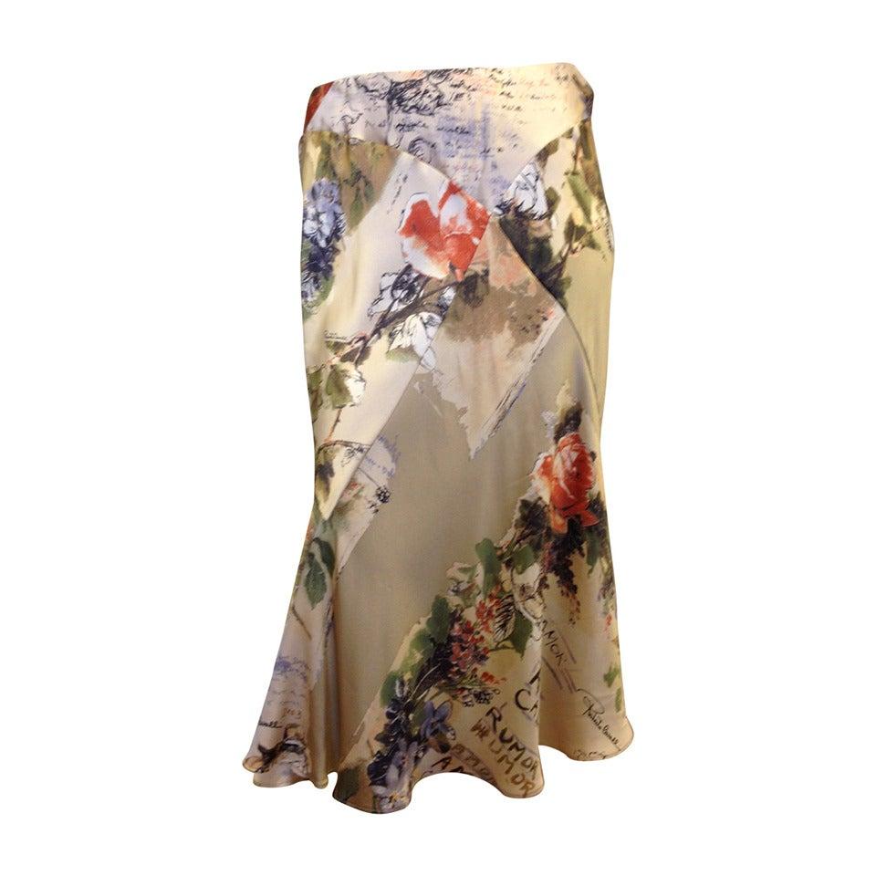 Roberto Cavalli Cream Floral Silk Skirt 1