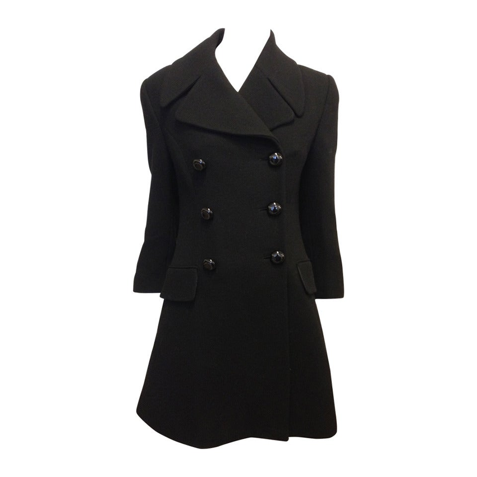 Dolce & Gabbana Black Wool Peacoat For Sale