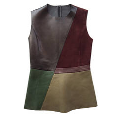 Céline Burgundy and Olive Leather Top