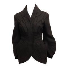 Herve Leger Charcoal Grey Wool Coat