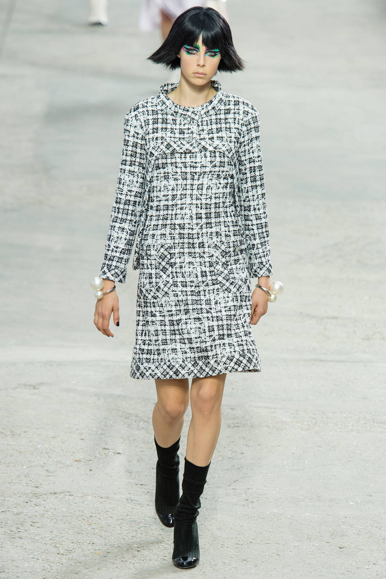 183f6bab783 Chanel Black and White Tweed Dress with Camellia at 1stdibs