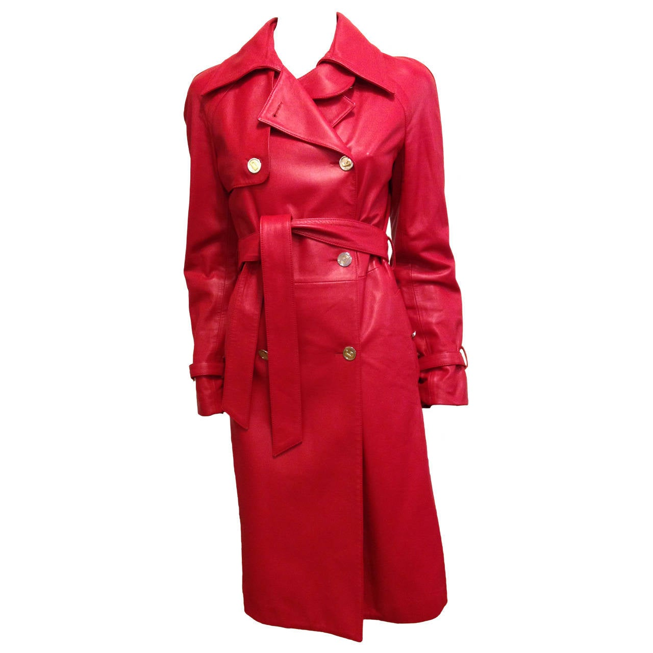 Dolce and Gabbana Red Leather Trench Coat at 1stdibs