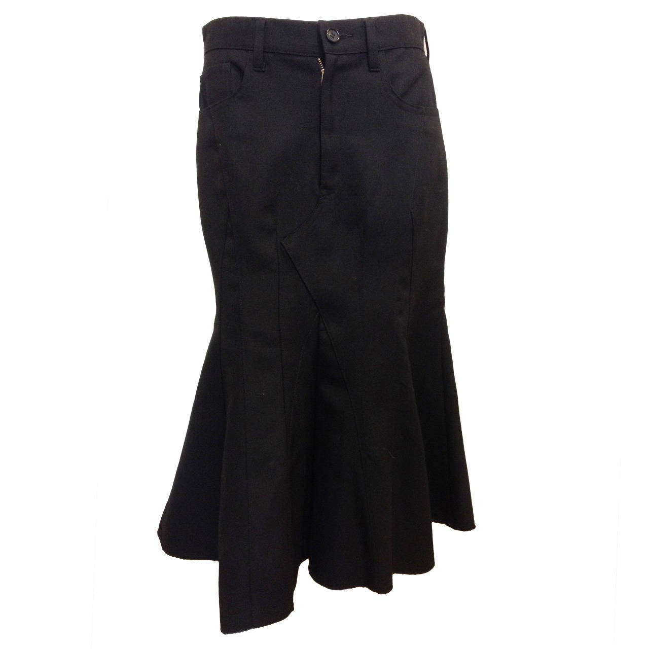 Junya Watanabe Black Flared Skirt at 1stdibs