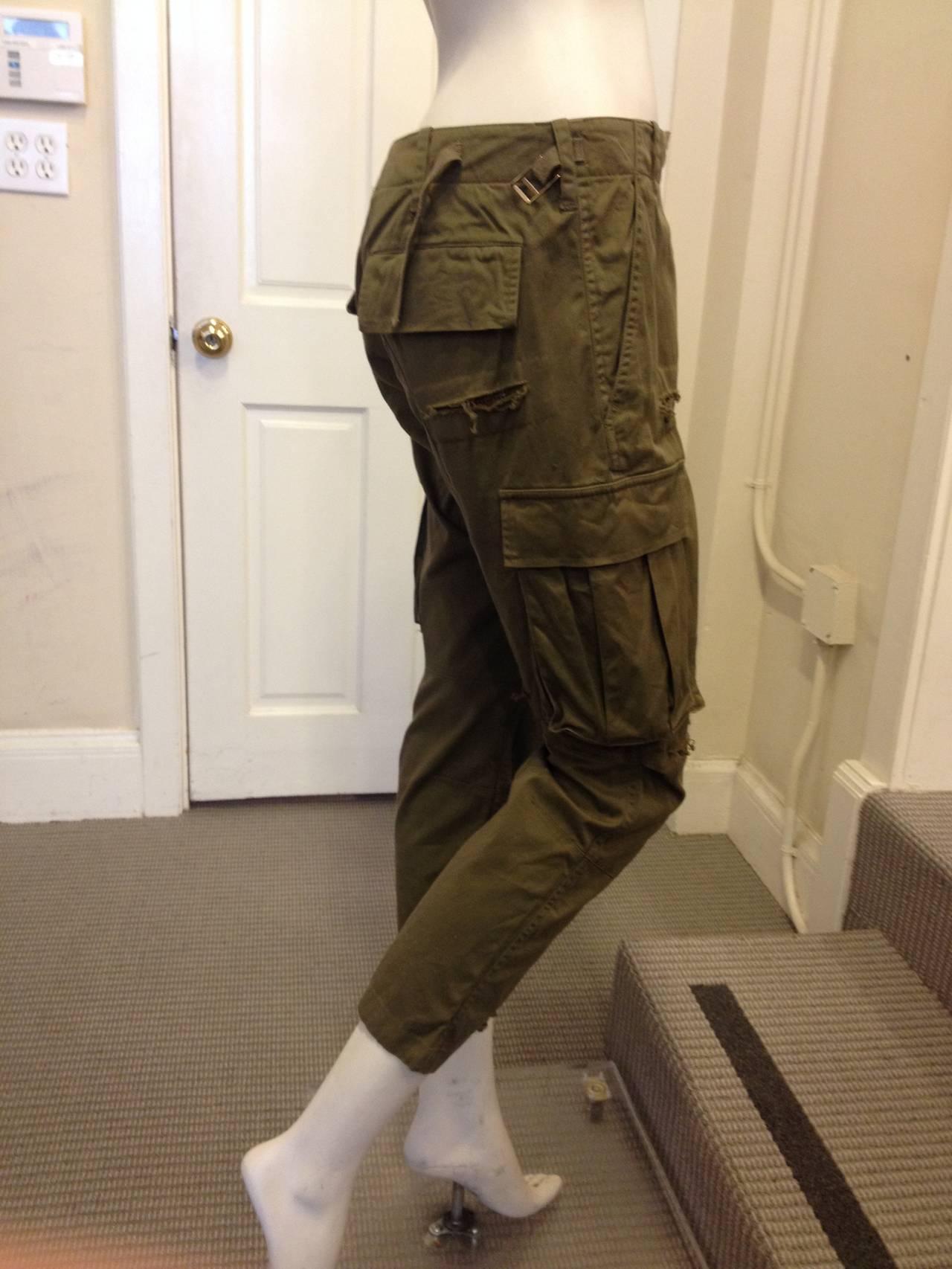 Balmain Olive Green Cargo Pants 3