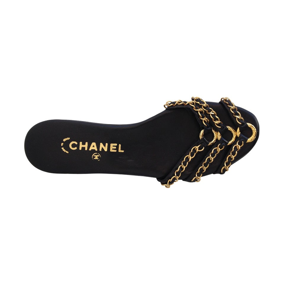 b7ed9f715 Chanel Black Slides with Gold Chain at 1stdibs