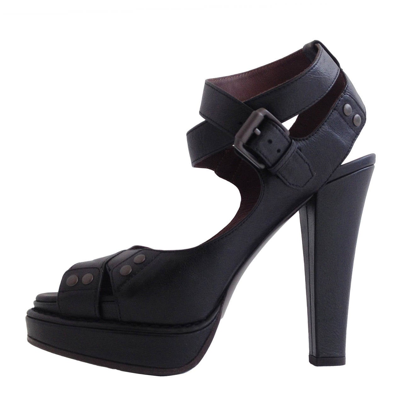 Bottega Veneta Black Platform Sandals For Sale