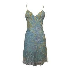Valentino Blue Beaded Sheer Slip Dress
