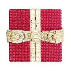 Judith Leiber Pink and Clear Rhinestone Present Clutch