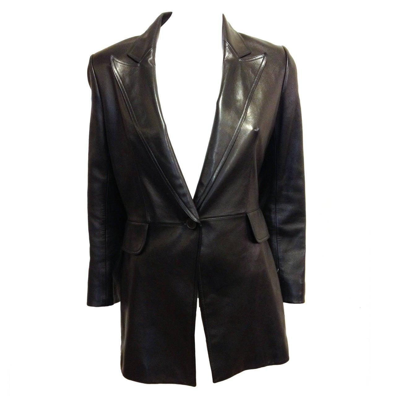 Alaia Black Leather Blazer 1