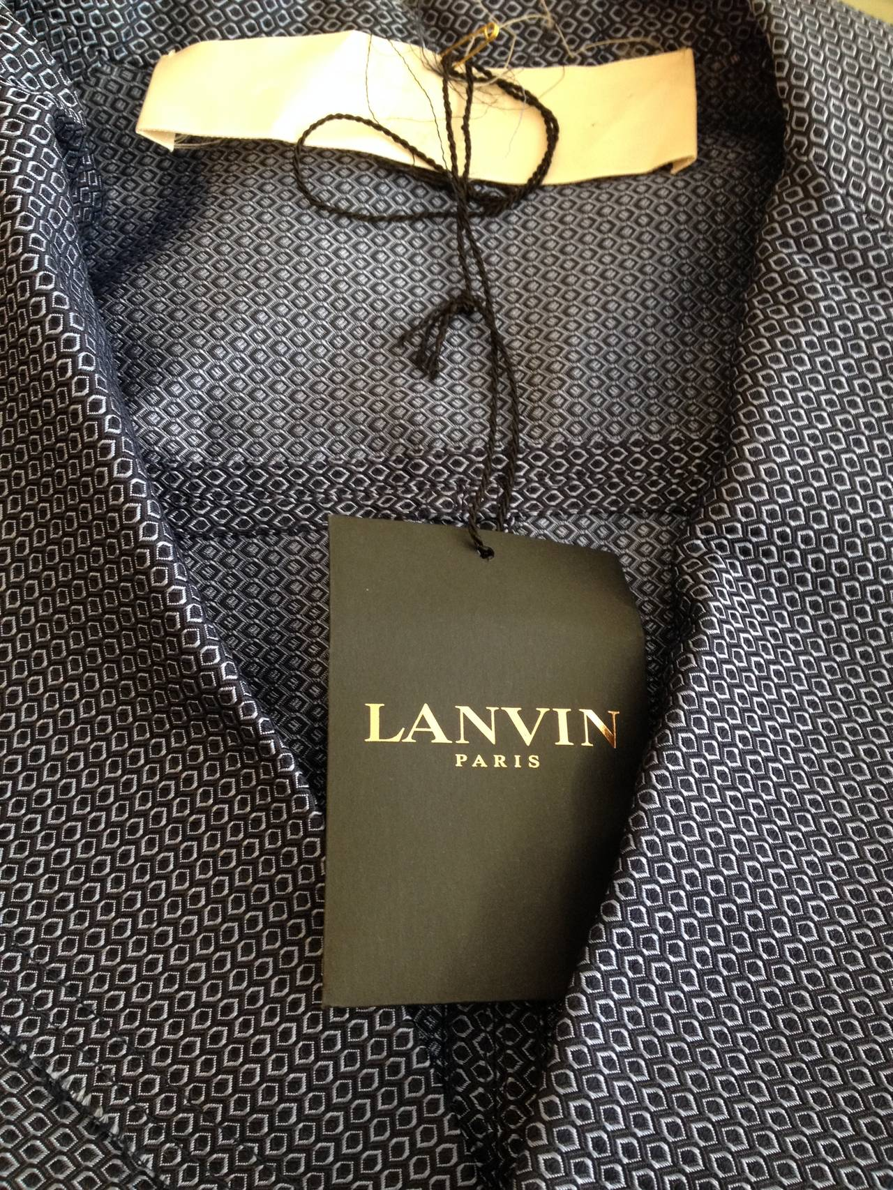 Lanvin Blue Silk Patterned Brocade Blazer 6