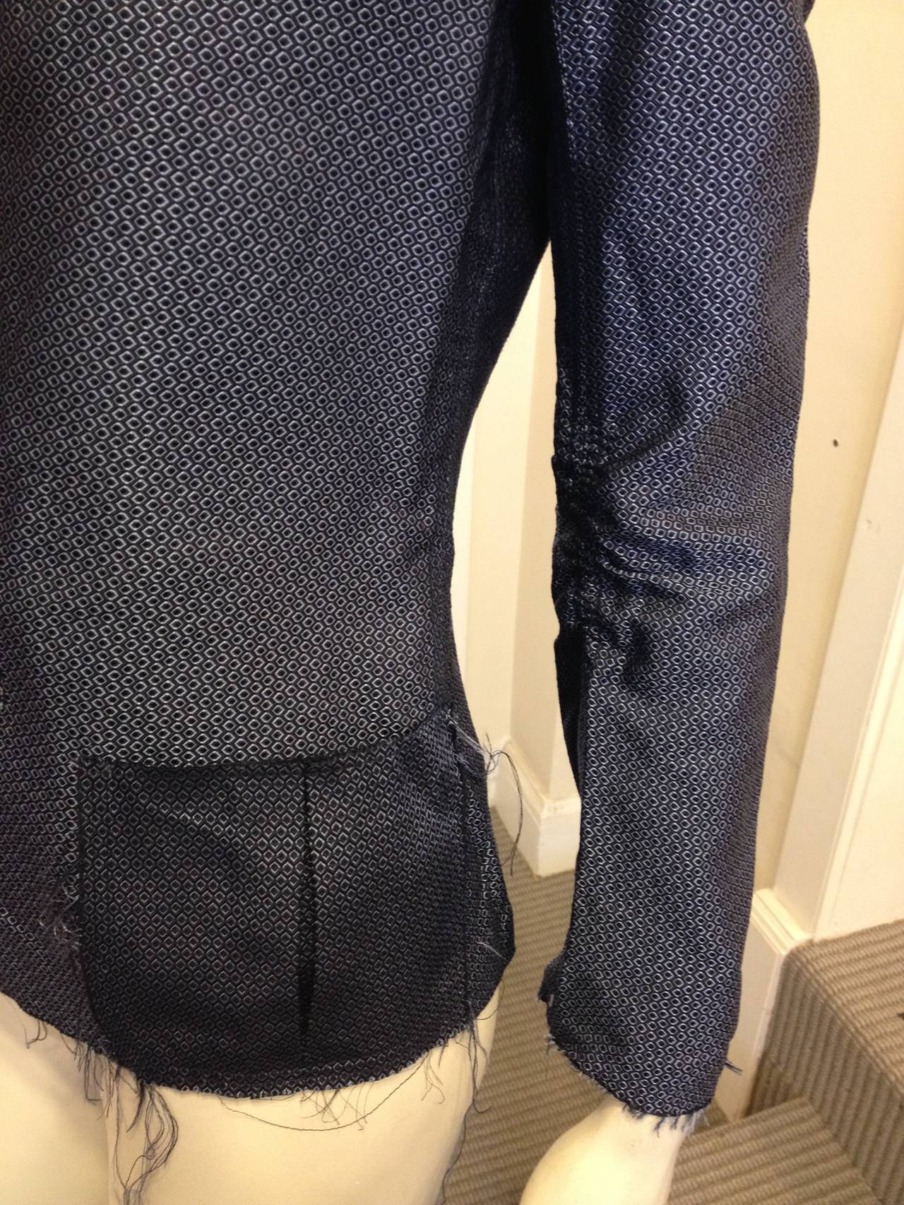 Lanvin Blue Silk Patterned Brocade Blazer 3