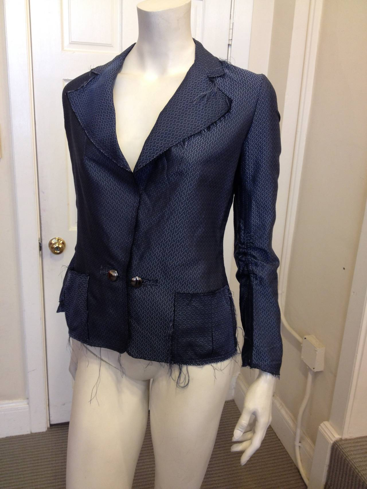Lanvin Blue Silk Patterned Brocade Blazer 4