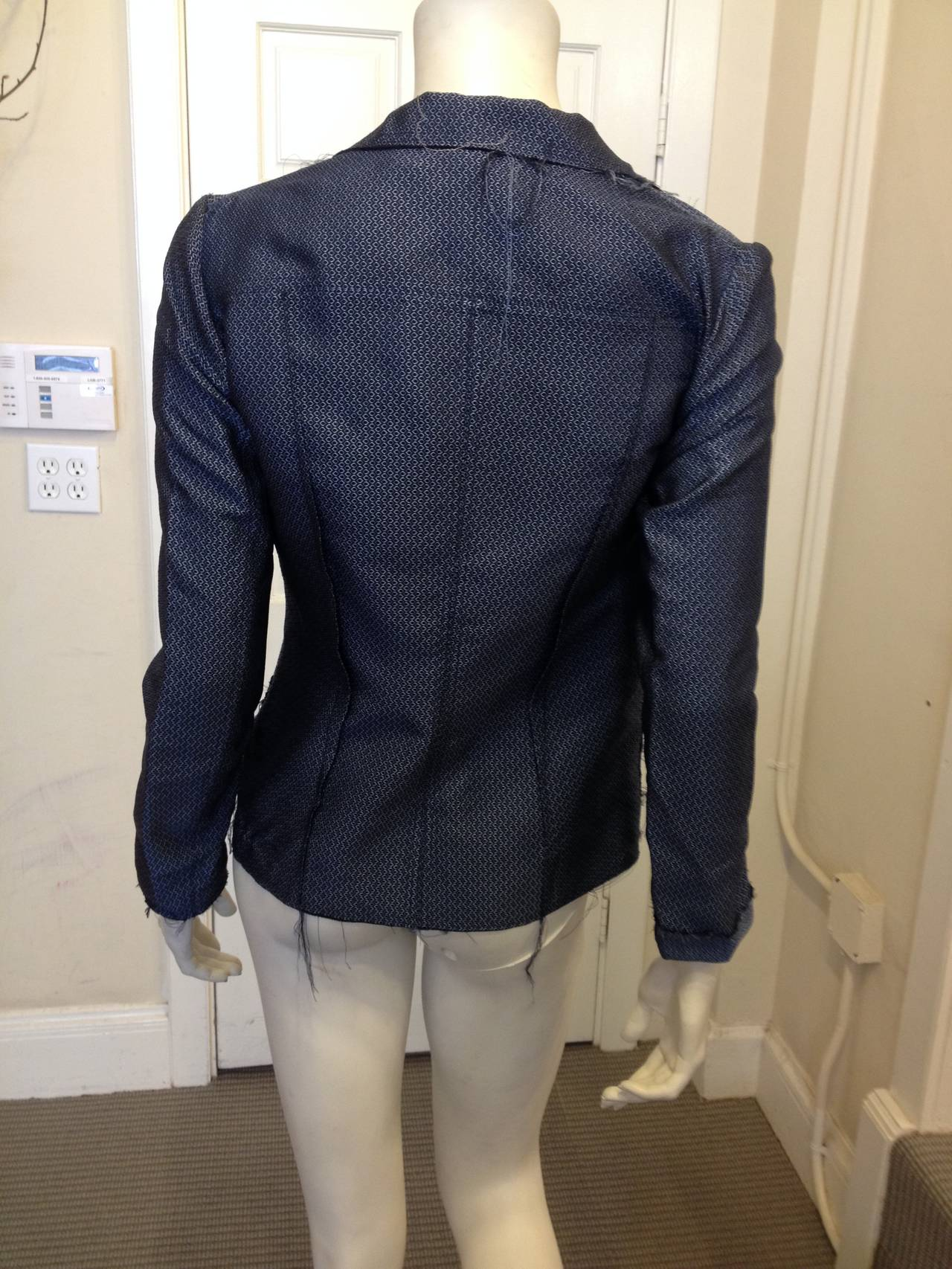 Lanvin Blue Silk Patterned Brocade Blazer 5