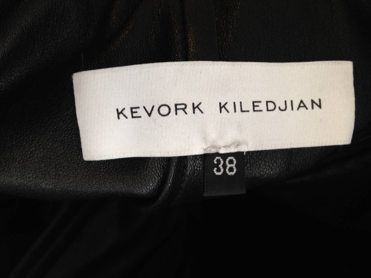 Kevork Kiledjian Black Leather and Lace Dress For Sale 4
