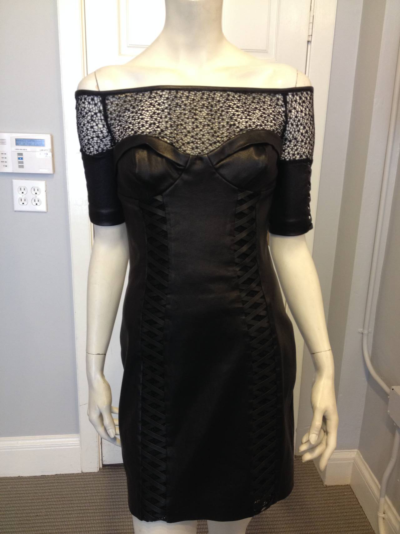 Kevork Kiledjian Black Leather and Lace Dress In Excellent Condition For Sale In San Francisco, CA