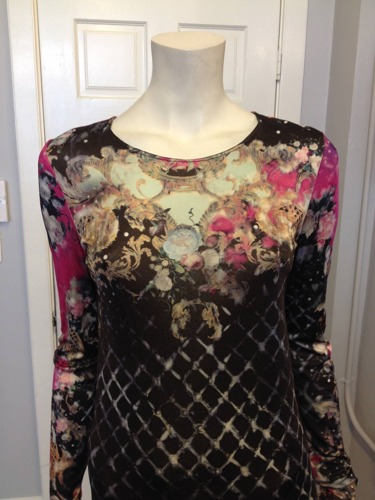 Balmain Pink and Black Printed Long Sleeve Dress 2