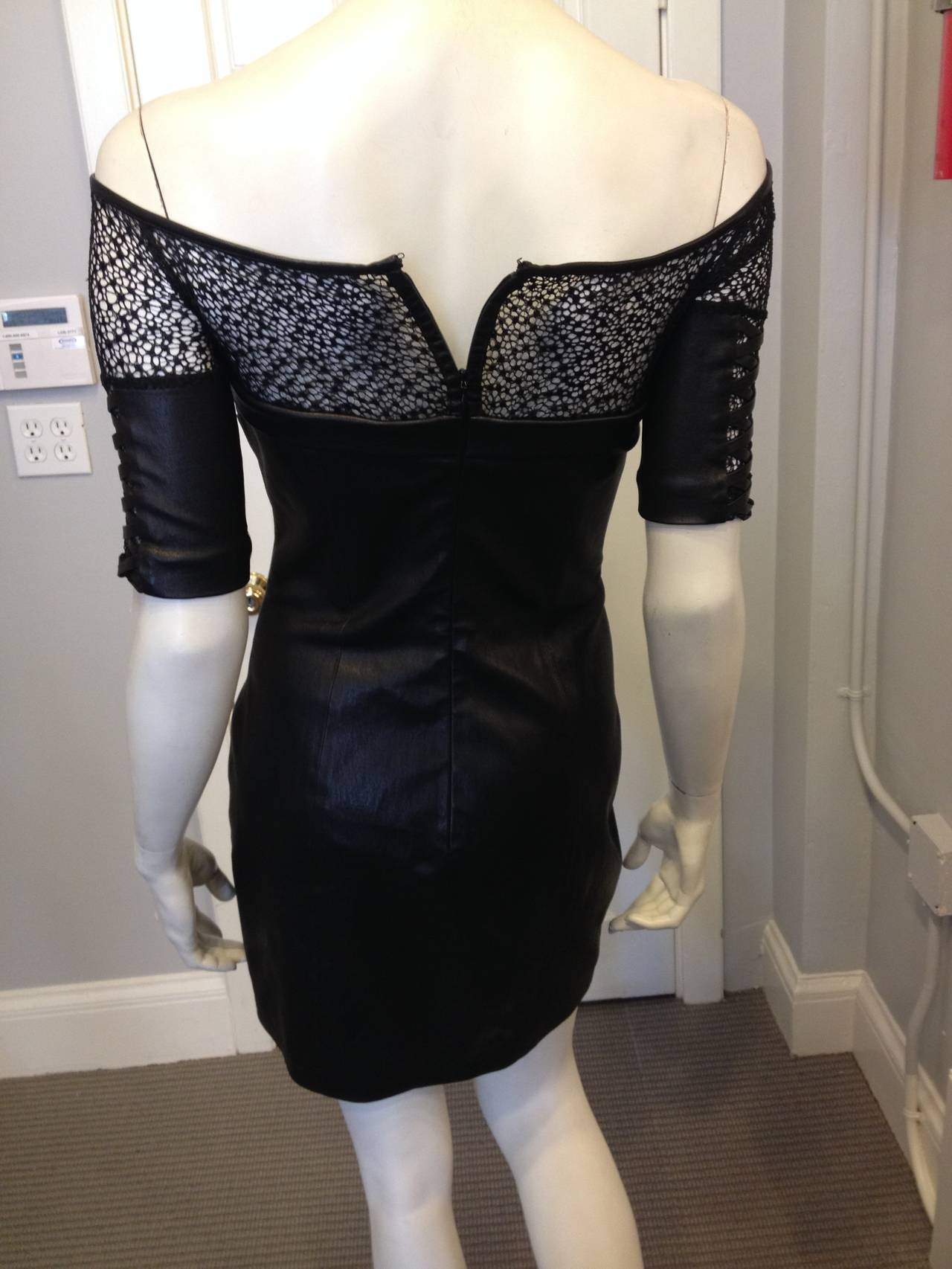 Kevork Kiledjian Black Leather and Lace Dress 6
