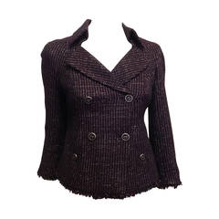 Chanel Plum Tweed Double-Breasted Blazer