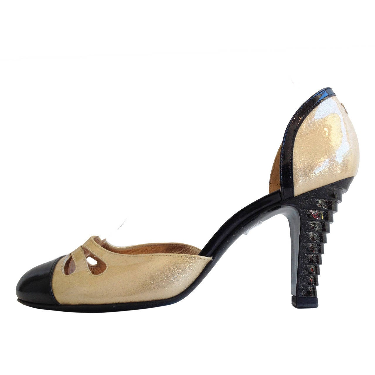 Chanel Gold And Black Patent D Orsay Heels At 1stdibs