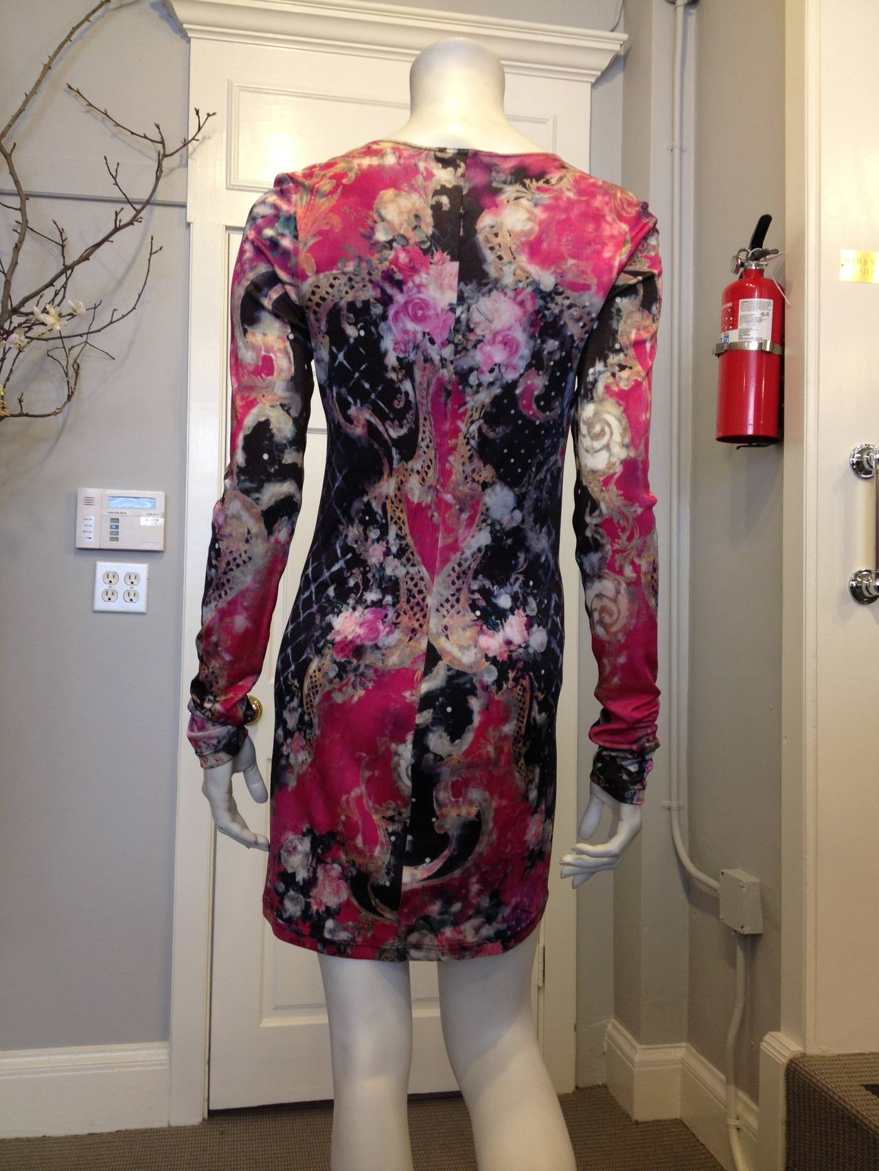 Balmain Pink and Black Printed Long Sleeve Dress 4