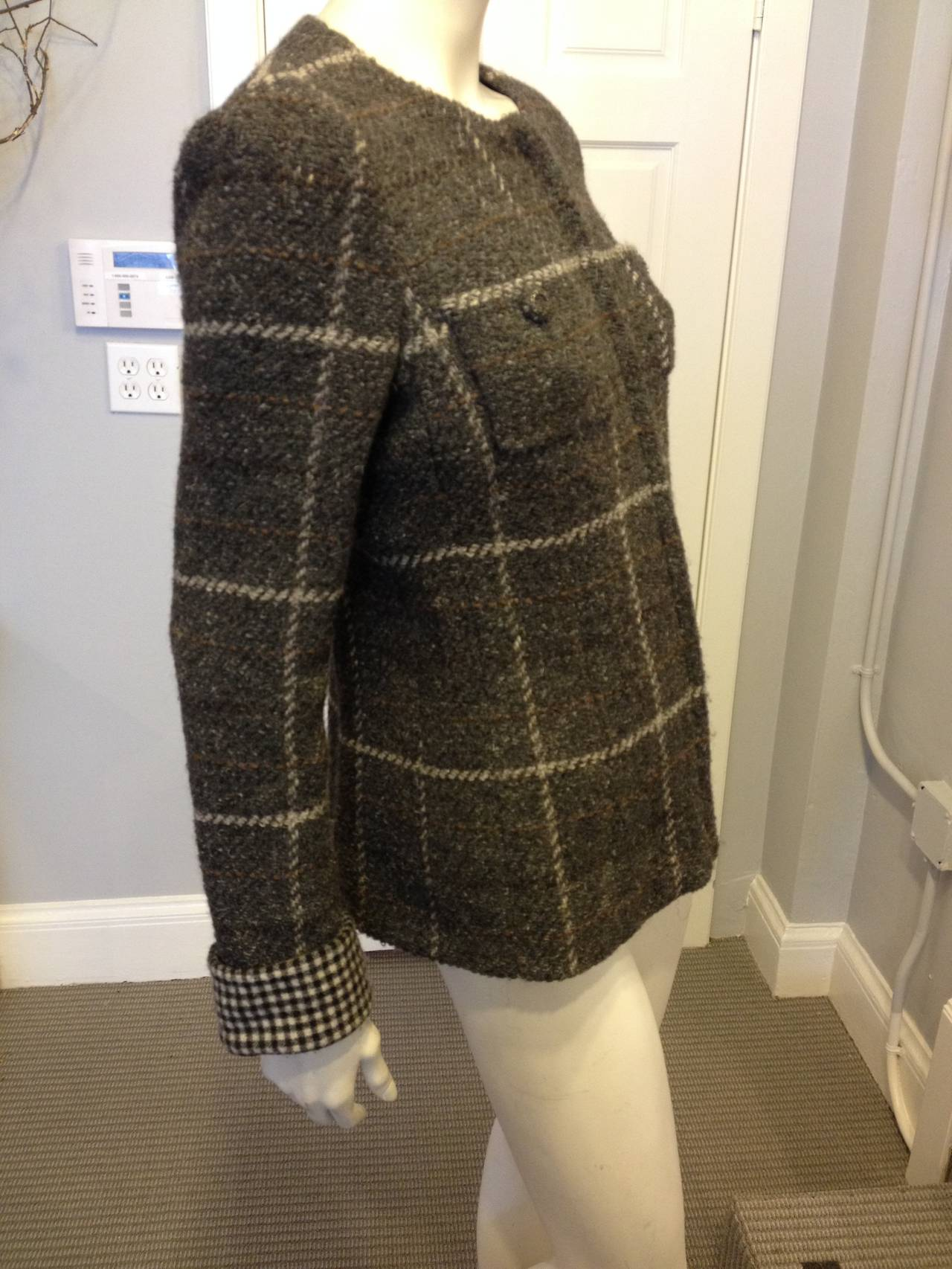 Chanel Grey And White Plaid Wool Jacket At 1stdibs