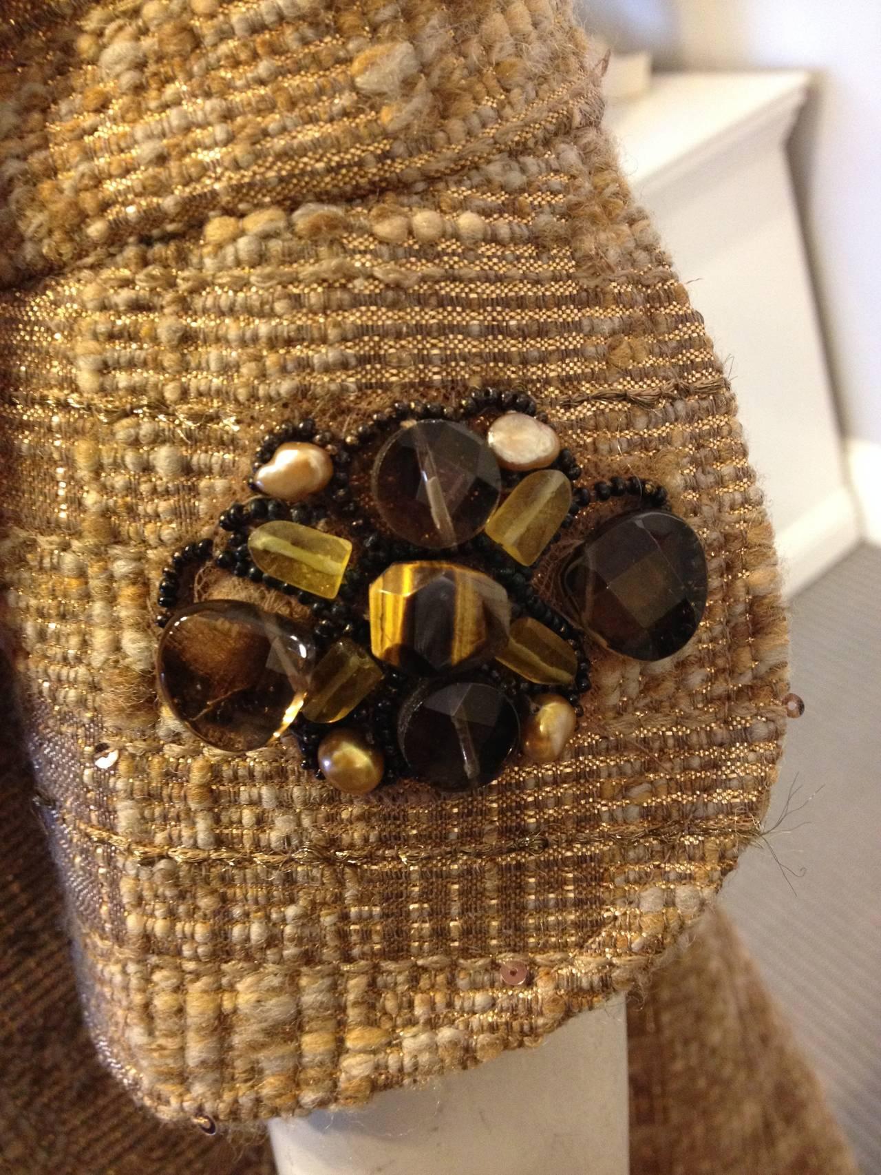 Women's Carolina Herrera Gold Tweed Coat with Fur Collar For Sale