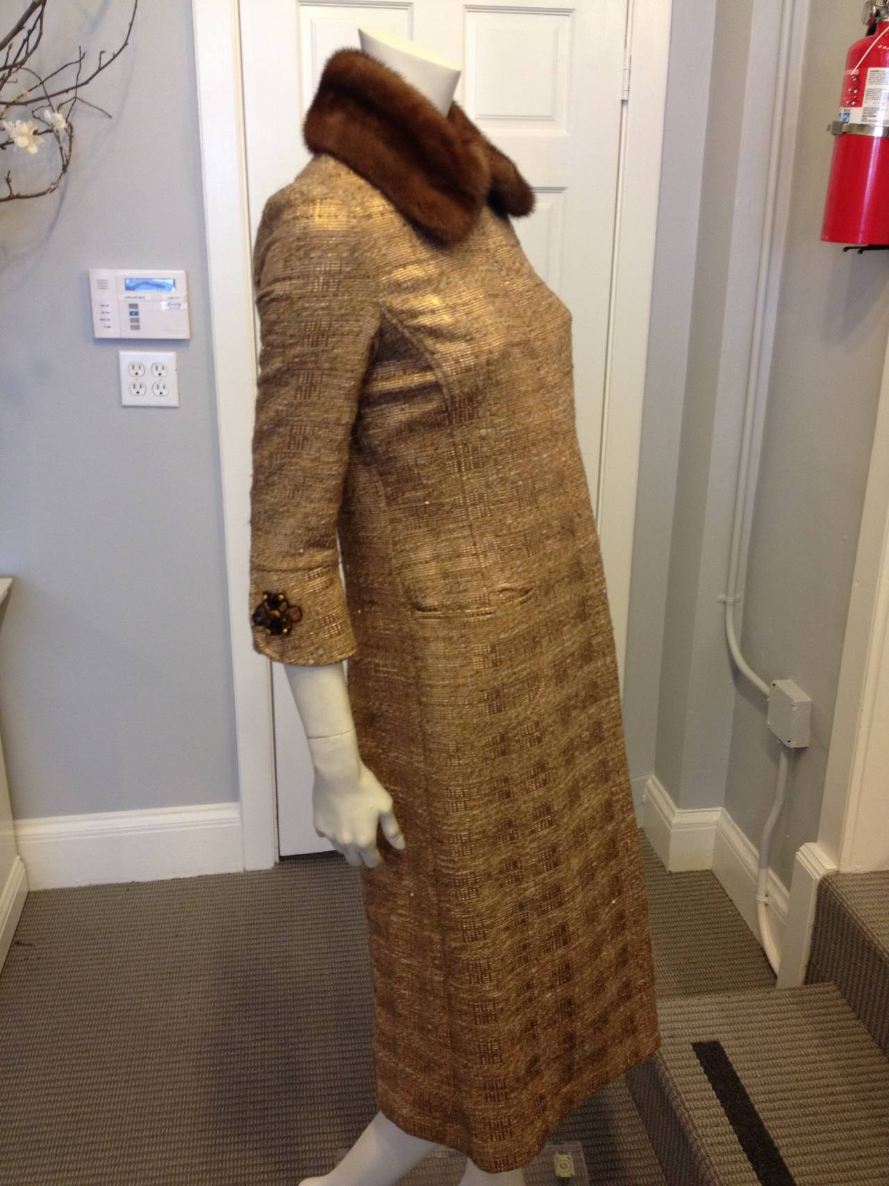 Brown Carolina Herrera Gold Tweed Coat with Fur Collar For Sale