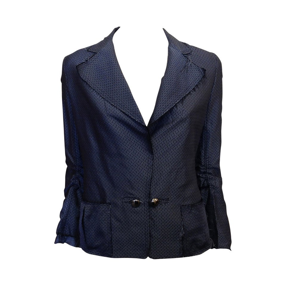 Lanvin Blue Silk Patterned Brocade Blazer 1