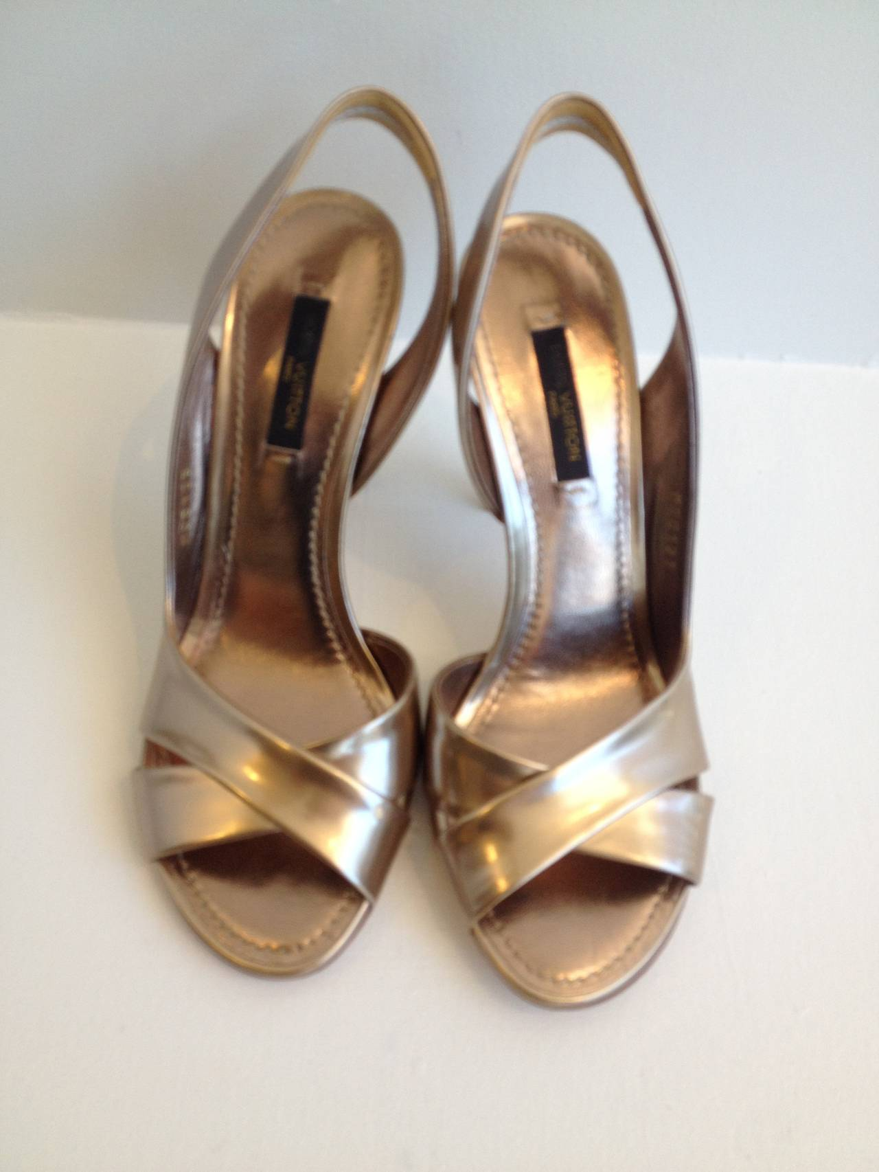 28630cfcd484 Louis Vuitton Gold Metallic Sandals For Sale. There s no better addition to  your wardrobe than a pair of high shine gold metallic Louis