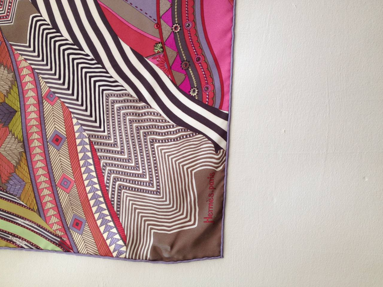 Hermes Pink and Green Coupons Indiens Silk Scarf 2