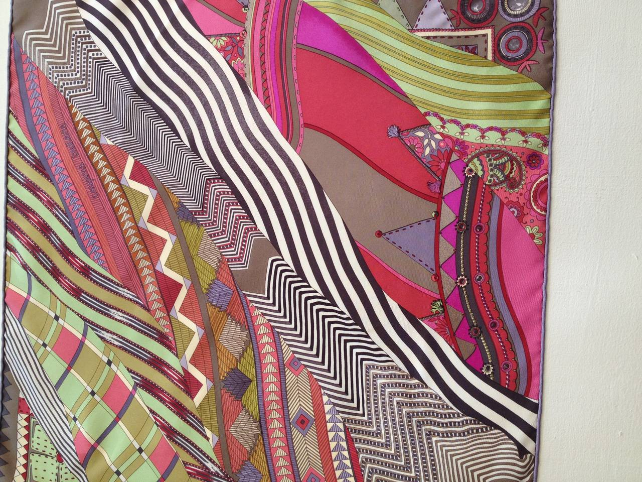 Hermes Pink and Green Coupons Indiens Silk Scarf 4