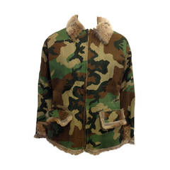Jean Paul Gaultier Olive Camouflage Fur Lined Jacket