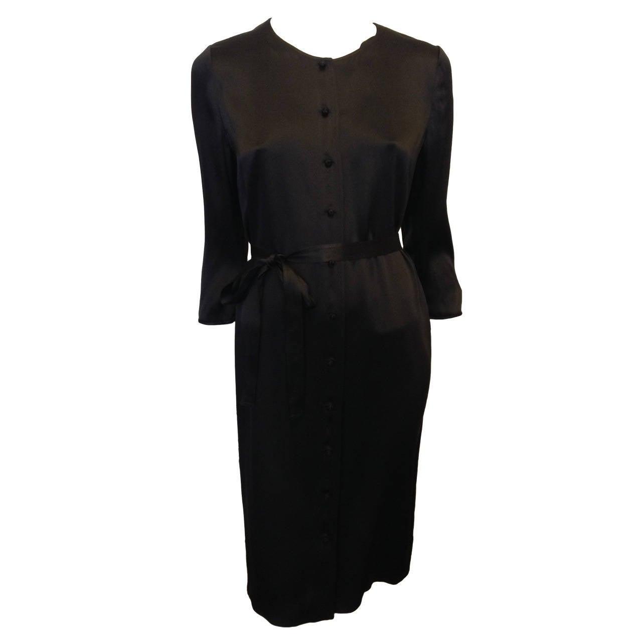 Chado Black Silk Button Down Dress