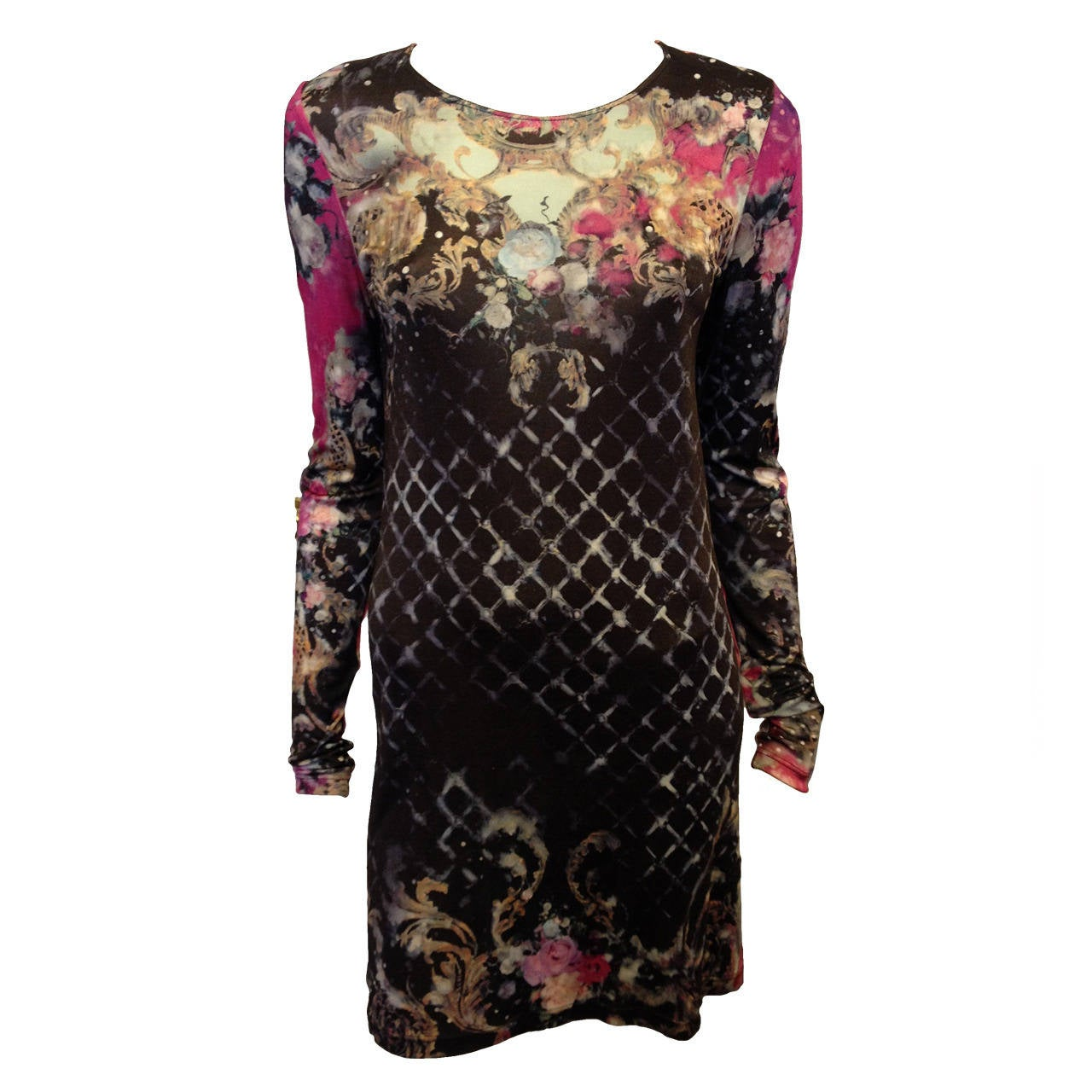 Balmain Pink and Black Printed Long Sleeve Dress 1