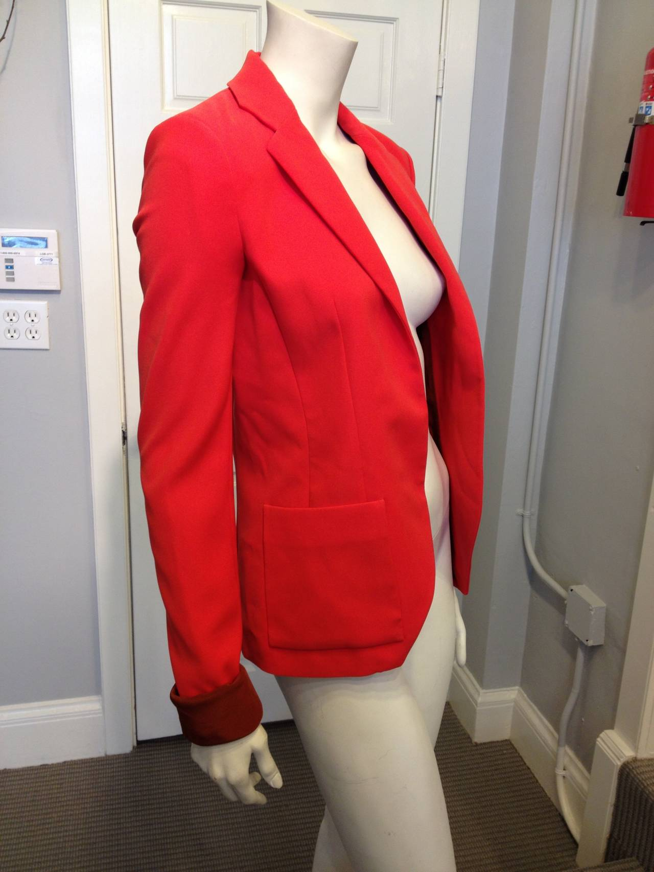 Balenciaga Orange Red Silk Tailored Blazer 4