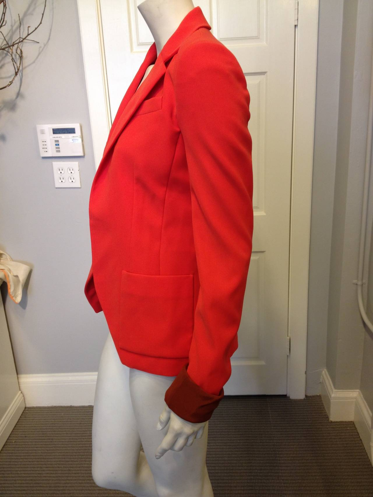 Balenciaga Orange Red Silk Tailored Blazer 3