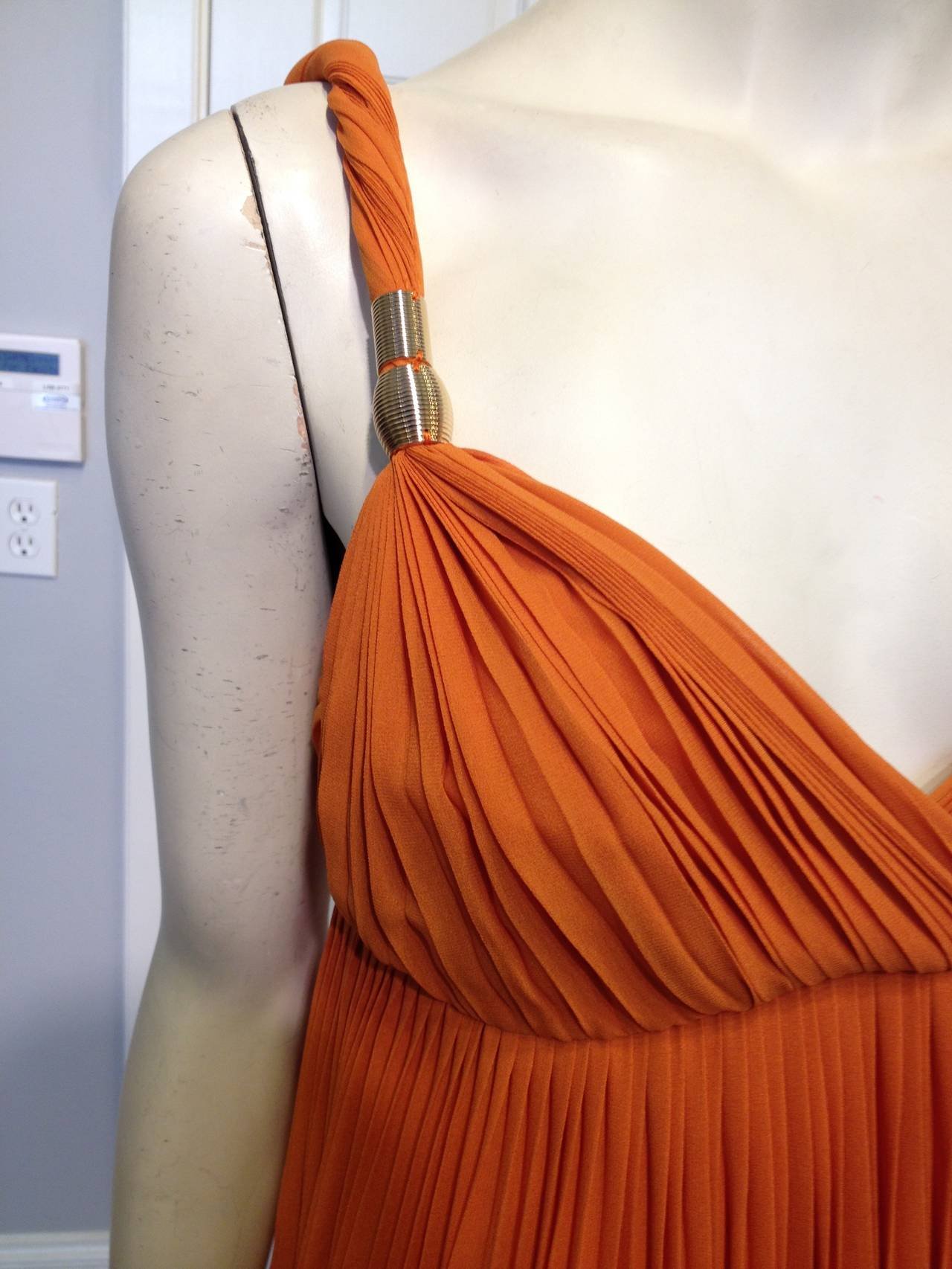 Gucci Orange Chiffon Tiered Gown 7