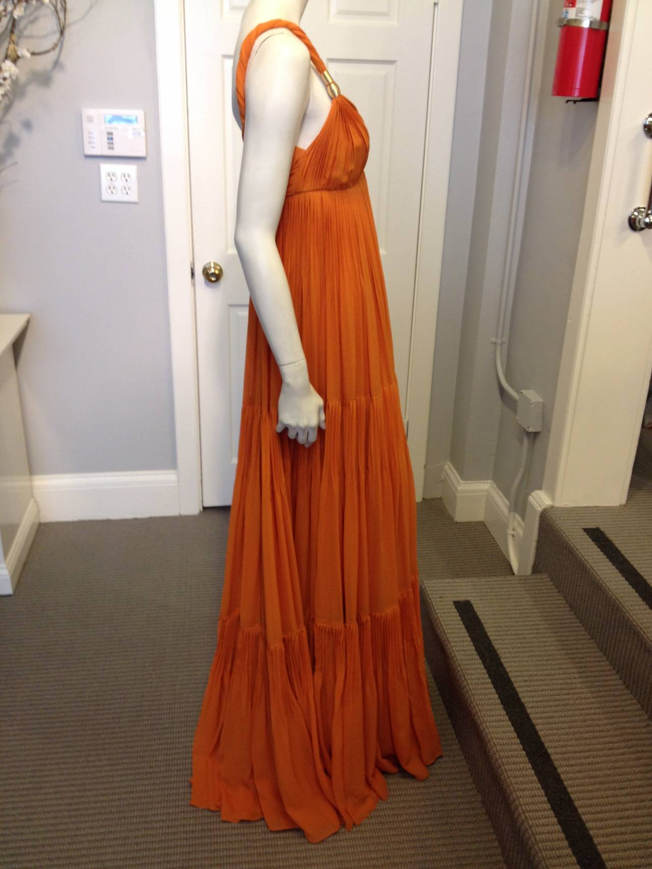 Gucci Orange Chiffon Tiered Gown 5