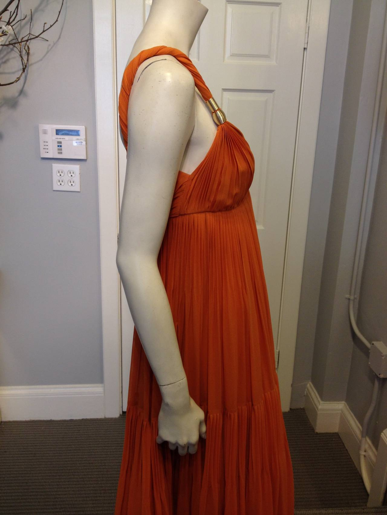 Gucci Orange Chiffon Tiered Gown 3