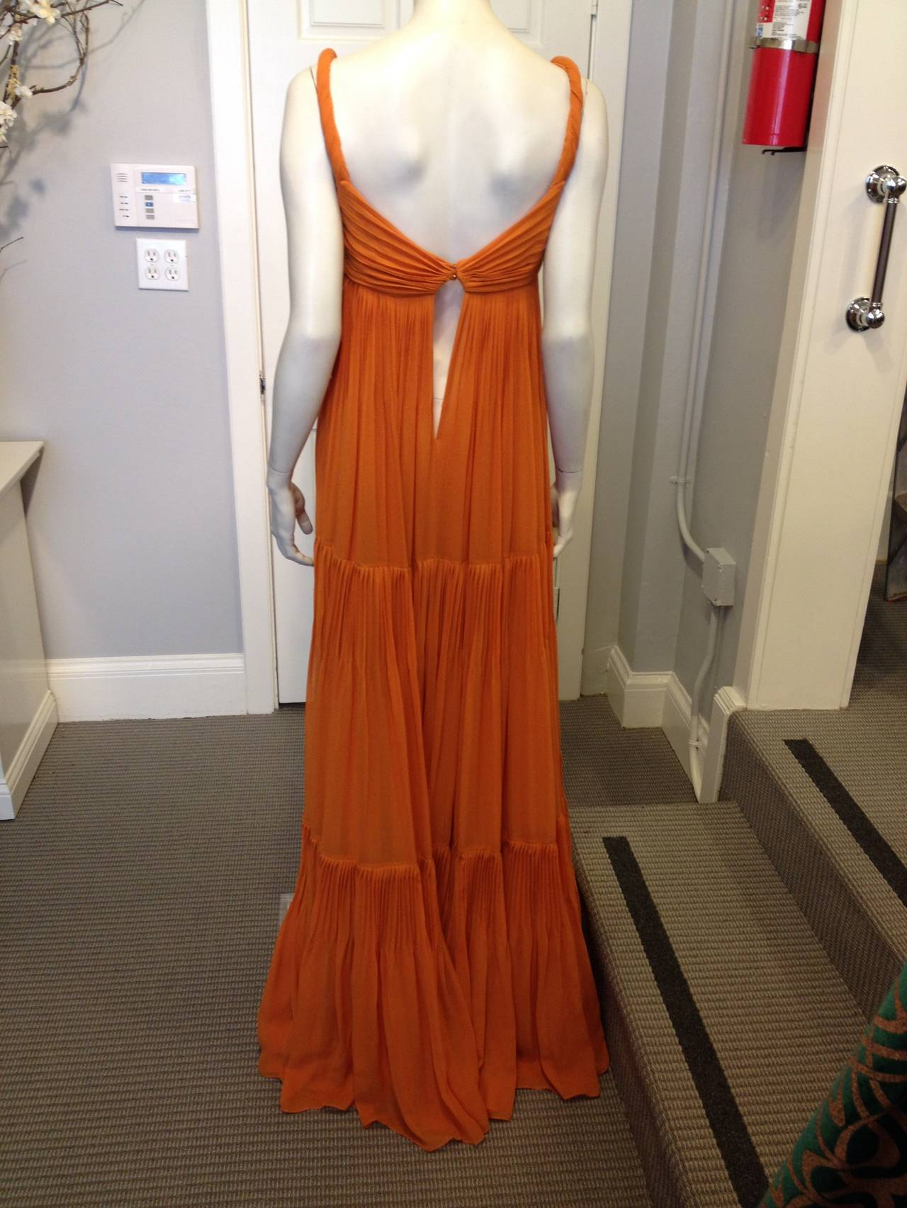Gucci Orange Chiffon Tiered Gown 4