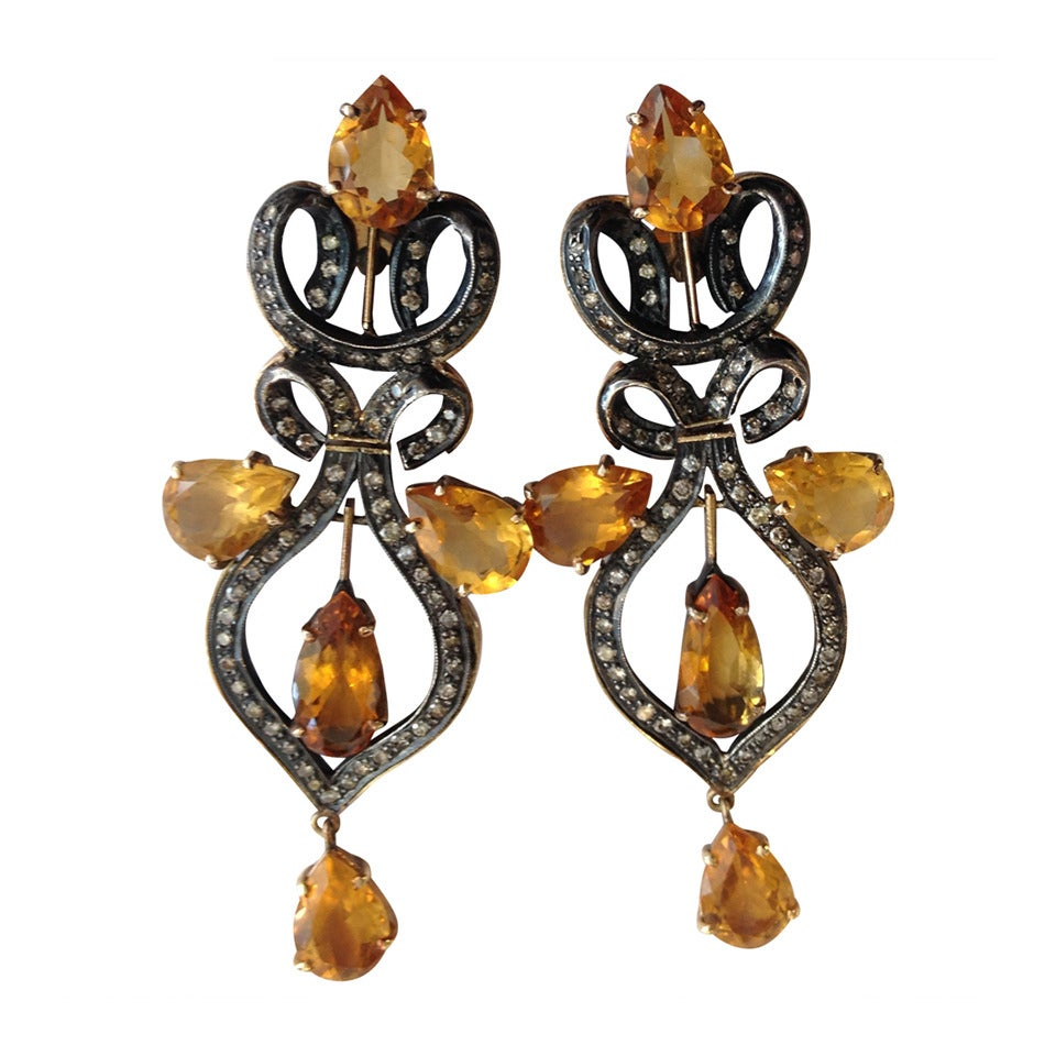 Yellow Topaz And Diamond Earrings For