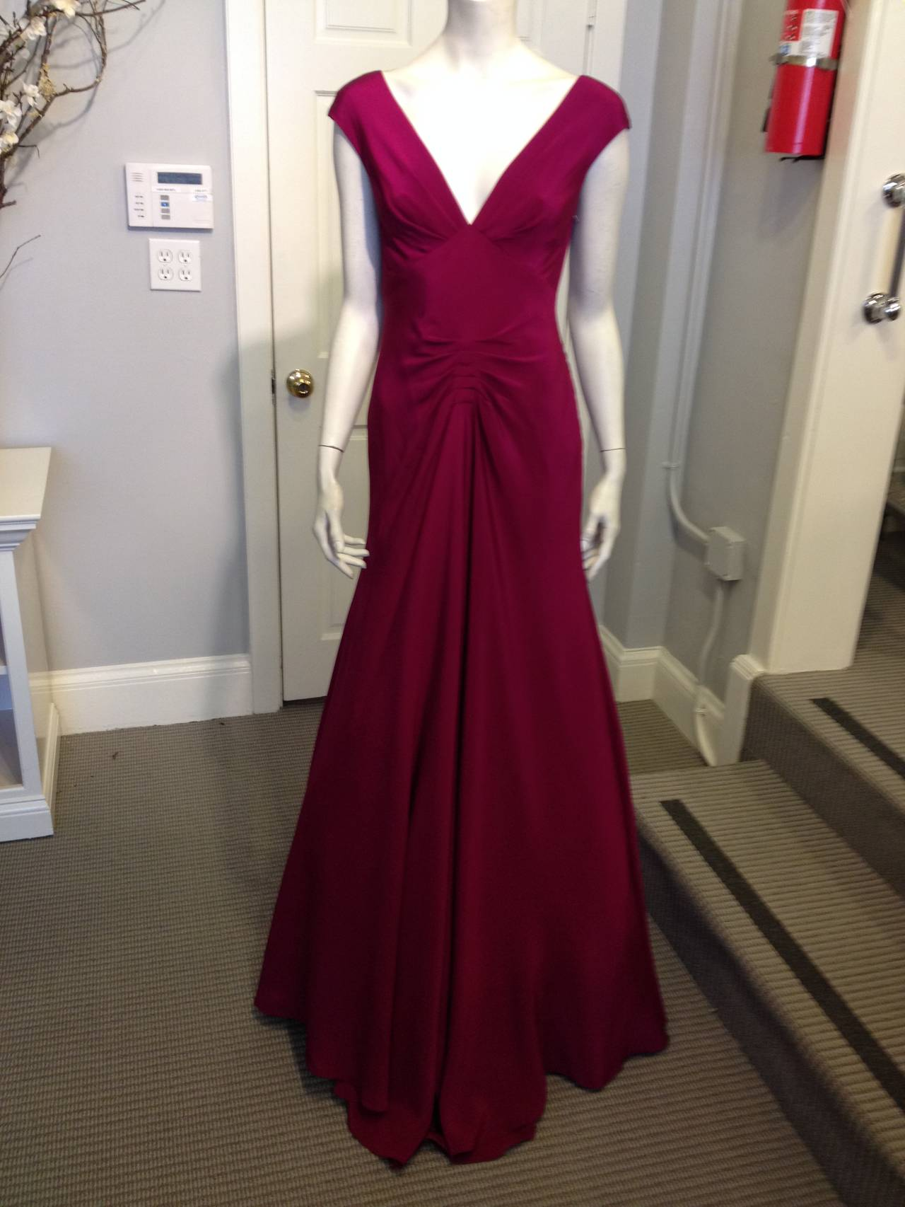 Red Lela Rose Magenta Lace-Back Gown For Sale