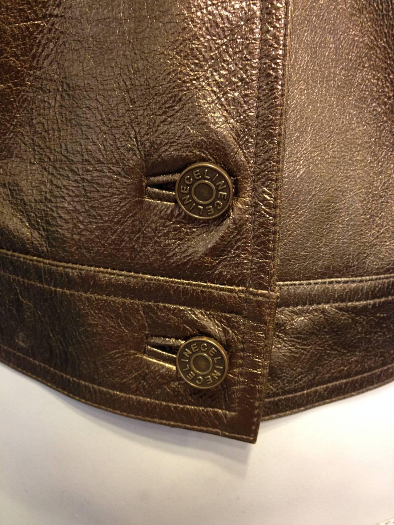 Celine Bronze Metallic Leather Jacket For Sale 2