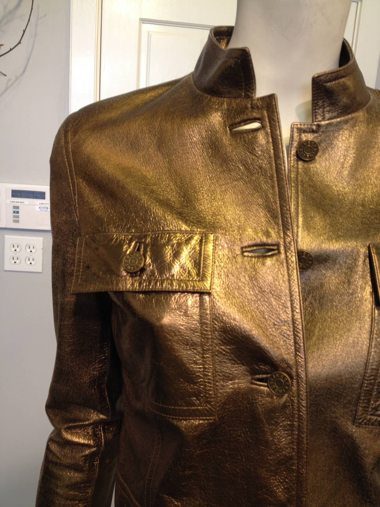 Women's Celine Bronze Metallic Leather Jacket For Sale