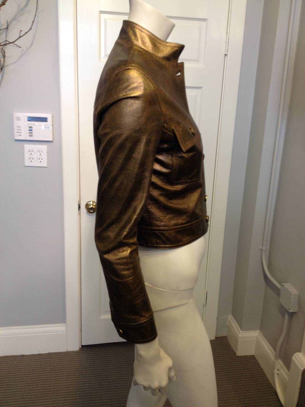 Celine Bronze Metallic Leather Jacket In Excellent Condition For Sale In San Francisco, CA
